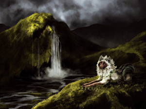 Картинка Рисованные Волки Водопады Животные