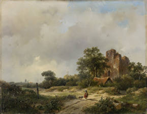 Картинка Живопись Andreas Schelfhout, Landscape with the Ruins of Brederode Castle in Santpoort