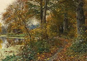Обои Картина Осенние Деревья Тропинка Peder Mork Monsted, Charlottendun Forest