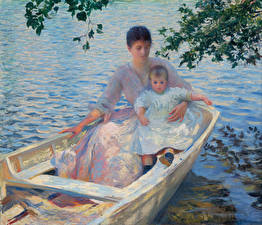 Картинки Картина Лодки 2 Edmund Charles Tarbell, Mother and Child in a Boat Дети