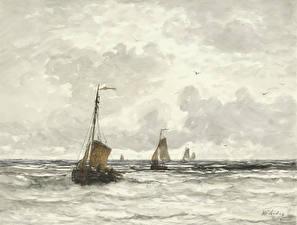 Картинка Картина Лодки Парусные Море Hendrik Willem Mesdag, Fishing Boats in the Surf
