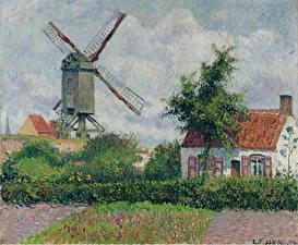 Фотографии Картина Мельница Camille Pissarro, Windmill at Knokke
