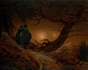 Фото Живопись Ночь 2 Caspar David Friedrich, Two Men Contemplating the Moon