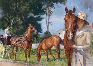 Картинки Живопись Лошади Edmund Charles Tarbell, New Castle Poppy