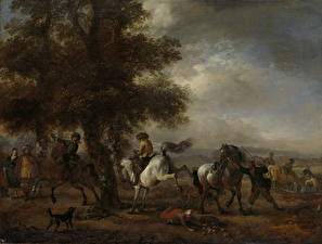 Фотография Картина Лошади Philips Wouwerman, Das treten White Horse