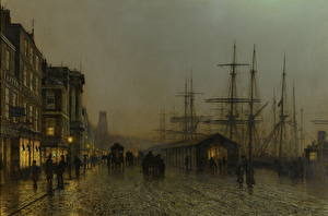 Фото Картина Улица Ночные John Atkinson Grimshaw, Glasgow, Saturday Night