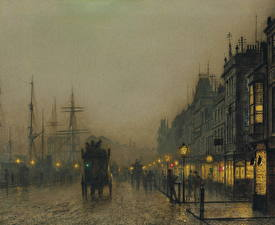 Фотография Картина Улица Ночные John Atkinson Grimshaw, Reekie, Glasgow