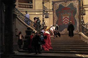 Фото Картина Мужчины Лестница Jean-Leon Gerome, Grey Eminence, François Leclerc du Tremblay