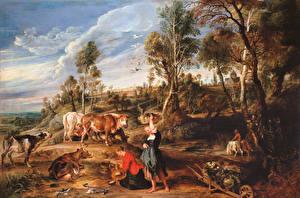 Фото Живопись Питер Пауль Рубенс Milkmaids with Cattle in a Landscape, 'The Farm at Laken'