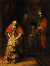 Обои Картина Пожилой мужчина Rembrandt Harmensz van Rijn, The Return of the Prodigal Son
