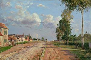 Картинки Живопись Дороги Camille Pissarro, Route from Versailles, Rocquencourt