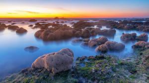 Обои Порту Португалия Берег Камни Рассвет и закат Мха Природа