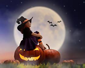 Фотография Тыква Хеллоуин Девочки Луна Ночь Шляпа Сидящие