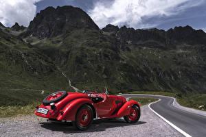 Фотографии Ретро БМВ Красных Металлик Родстер 1936-40 328 Roadster авто