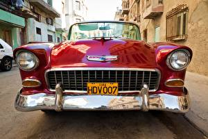 Фото Винтаж Шевроле Спереди Красный Металлик Фары Nomad 1955 V8 Авто
