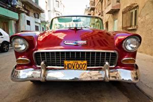 Фото Старинные Chevrolet Спереди Красный Металлик Фар Nomad 1955 V8 авто