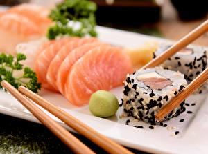 Обои Рис Рыба Суси Палочки для еды Пища