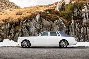 Картинка Роллс ройс Белый Сбоку 2017 Phantom Worldwide Авто