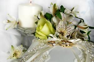 Картинка Розы Альстрёмерия Свечи Кольцо Цветы