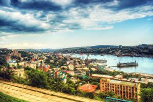 Фотография Россия Здания Реки Небо Причалы Облако HDR Vladivostok Города