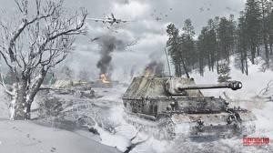 Картинки Самоходка Зимние Самолеты Штурмовики War Thunder Немецкий Российские Снег Ferdinand,  Il-2 3D_Графика