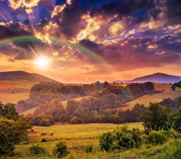 Фото Пейзаж Сезон года Осень Небо Поля Лес Облачно Радуги Природа