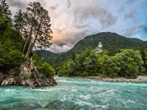 Фото Словения Горы Леса Речка Волны Bovec Природа
