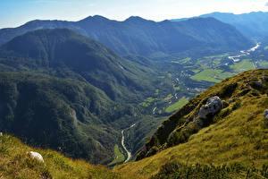 Картинки Словения Горы Речка Луга Bovec Природа