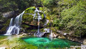 Фотографии Словения Водопады Скала Мох Virje Waterfall Bovec Природа