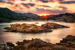 Фото Испания Берег Рассветы и закаты Остров Залив Ciutadella de Menorca Balearic Islands Природа