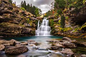 Картинка Испания Водопады Камни Скала Ordesa Aragon