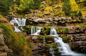 Фотографии Испания Водопады Камень Мох Трава Ordesa Aragon