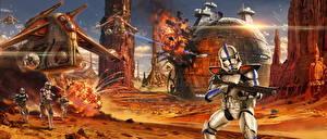 Картинки Звездные войны Воины Сражения Клоны солдаты Фан АРТ Фильмы