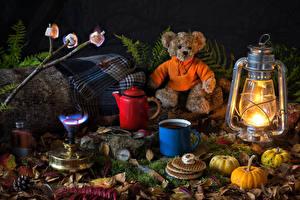 Картинки Натюрморт Керосиновая лампа Плюшевый мишка Напитки Тыква Выпечка Кувшин Кружка