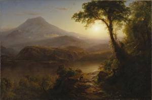 Фотографии Рассветы и закаты Картина Деревья Frederic Edwin Church, Tropical Scenery Природа