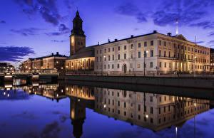 Картинка Швеция Дома Речка Вечер Gothenburg Города
