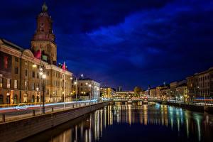 Фото Швеция Здания Реки Небо Ночные Уличные фонари Водный канал Gothenburg