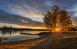Картинка Швеция Речка Рассветы и закаты Берег Деревья