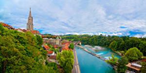 Фотография Швейцария Берн Дома Реки Деревьев