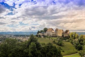 Фото Швейцария Замки Небо Ландшафтный дизайн Облака Lenzburg Castle