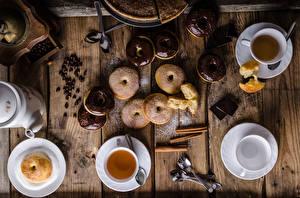 Картинки Чай Пончики Корица Шоколад Доски Завтрак Чашка Зерна Продукты питания