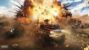 Фото Техника Фэнтези Взрывы Crossout Игры 3D_Графика