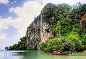 Обои Таиланд Тропики Лодки Залива Утес Кустов Природа