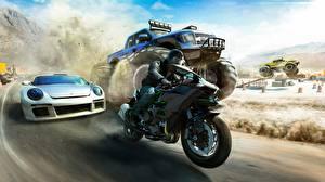 Обои The Crew Мотоциклист Едущий Гонки Автомобили