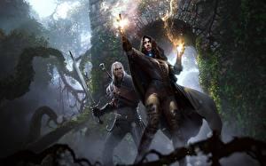 Картинка Ведьмак 3: Дикая Охота Геральт из Ривии Волшебство Мечи Вдвоем Yennefer Девушки Фэнтези
