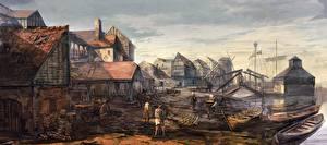 Обои Ведьмак 3: Дикая Охота Здания Лодки Novigrad Port