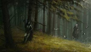 Обои Ведьмак Эльфы Геральт из Ривии Лучники Мужчины Dryad Фэнтези Девушки