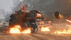 Фотографии Грузовики Пламя Crossout Игры 3D_Графика