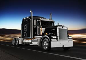Картинка Грузовики Кенворт Черный W900L Машины