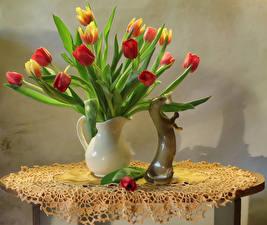 Картинки Тюльпаны Вазе цветок
